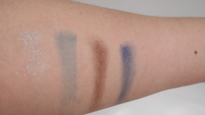 L to R: Pearly Pale blue, Matte Teal Blue, Pearly Dark Bronze, Deep Cobalt Blue