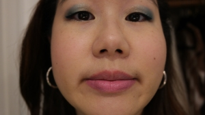 YSL Kiss and Blush Rose Libre on lips and cheeks with Benefit Cosmetics High Beam