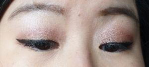 Light Pink on lid, Pink in crease and White Highlight on brow bone
