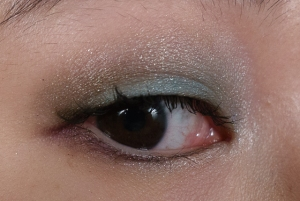 Turquoise on lid, Sage in Crease, Purple in lower lash line and Pink Highlight on inner corners